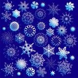 Reeks overladen sneeuwvlokken Stock Afbeeldingen