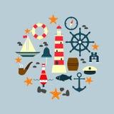 Reeks overzees en zeevaartpictogrammen, tekens en symbolen Royalty-vrije Stock Afbeeldingen