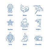 Reeks overzees of oceaandierenpictogrammen royalty-vrije illustratie