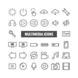 Reeks overzichtspictogrammen van verschillende media Dunne pictogrammen voor druk, Web, mobiele apps Royalty-vrije Stock Foto