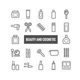 Reeks overzichtsschoonheid en kosmetische pictogrammen Lineaire pictogrammen voor druk, Web, mobiele apps Royalty-vrije Stock Afbeelding