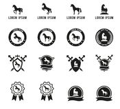 Reeks paard of ruiteretiketten en tekens Royalty-vrije Stock Foto's