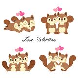 Reeks paareekhoorns in liefde voor de dag van Valentine stock illustratie