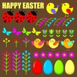 Reeks paaseieren, dieren en bloemen. vector illustratie