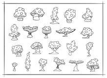 Reeks paddestoelen van de vliegplaatzwam De zwart-witte die illustratie van het overzichtsbeeldverhaal, vector op wit wordt geïso stock foto