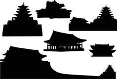 Reeks pagodesilhouetten Stock Afbeelding