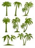 Reeks palmsilhouetten Stock Afbeelding