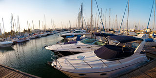 Reeks panoramische beelden van de haven met ya Stock Foto