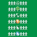 Reeks papercutcijfers die ecologische symbolen houden - vectoreps8 Royalty-vrije Stock Foto's