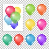 Reeks partijballons op transparante achtergrond royalty-vrije illustratie