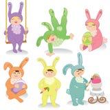 Reeks Pasen konijntjes Stock Foto