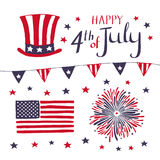 Reeks Patriottische elementen voor het vieren 4 van Juli de hand getrokken Amerikaanse vectorvoorwerpen van de Onafhankelijkheids stock fotografie