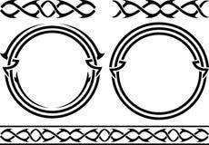 Reeks patronen en ringen stencils Royalty-vrije Stock Foto's