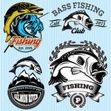 Reeks patronen met emblemen voor visserij met snoeken, zalm, baarzen stock illustratie