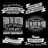 Reeks patronen voor gelukwensen een gelukkige verjaardag Royalty-vrije Stock Afbeeldingen