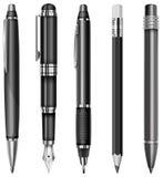 Reeks pennen en potloden Royalty-vrije Stock Afbeelding