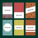 Reeks perfecte vectorkaartmalplaatjes, ideaal voor sparen de Datum, babydouche, moedersdag, valentijnskaartendag, verjaardagskaar Royalty-vrije Stock Afbeelding