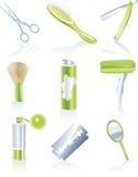 Reeks persoonlijke haircarepictogrammen Stock Afbeeldingen