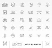 Reeks 32 pictogram Medische Gezondheid Royalty-vrije Stock Foto's