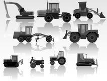 Reeks pictogram zware machines. Stock Foto's