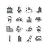 Reeks pictogrammen - architectuur, beeldhouwwerk, decoratieve arts. Stock Foto
