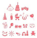 Reeks pictogrammen - babymeisje Stock Afbeelding