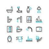 Reeks pictogrammen - een badkamers Royalty-vrije Stock Foto's