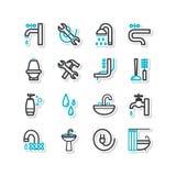Reeks pictogrammen - een badkamersmateriaal, reparatie Royalty-vrije Stock Afbeelding