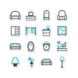Reeks pictogrammen - een huisbinnenland, woonkamer Royalty-vrije Stock Fotografie