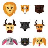 Reeks pictogrammen of emblemen met de Vectorillustratie van binnenlandse, wilde en landbouwbedrijfdieren in vlakke stijl vector illustratie