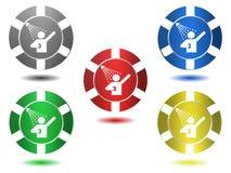 Reeks pictogrammen in kleur, douche, illustratie Stock Fotografie