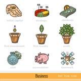 Reeks Pictogrammen Kleuren van het Bedrijfsoverzichtsweb Stock Foto's