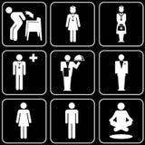 Reeks pictogrammen (mensen) Stock Afbeeldingen