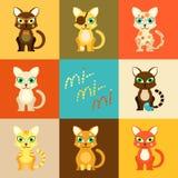 Reeks pictogrammen met beeldverhaalkatten Royalty-vrije Stock Afbeelding