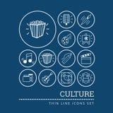 Reeks pictogrammen met betrekking tot cultuur het schilderen, muziek en bioskoop royalty-vrije illustratie