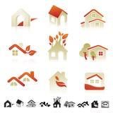 Reeks pictogrammen met insectensilhouetten Royalty-vrije Stock Afbeelding