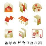 Reeks pictogrammen met insectensilhouetten Stock Foto