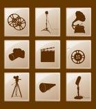 Reeks pictogrammen met retro silhouetten Stock Afbeelding