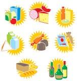 Reeks pictogrammen met voedsel en dranken Stock Afbeelding