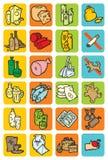 Reeks pictogrammen met voedsel en dranken Stock Foto