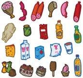 Reeks pictogrammen met voedsel en dranken Stock Afbeeldingen