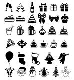 Reeks pictogrammen op de viering Stock Afbeelding