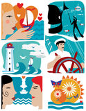 Reeks pictogrammen op een thema van het overzees en de zomer Marien concept Royalty-vrije Stock Fotografie