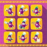 Reeks pictogrammen op een themakeuken Grappige koks - Aubergines in stijl Stock Fotografie