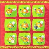 Reeks pictogrammen op een themakeuken Grappige koks - Pompoen in stijl Stock Foto
