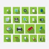 Reeks pictogrammen op het thema van ontwerp met vectorschaduwlicht gre Royalty-vrije Stock Afbeeldingen