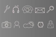 Reeks pictogrammen op telefoon, slimme telefoon, witte pictogrammen op grijze achtergrond, reeks eenvoudige pictogrammen Royalty-vrije Stock Afbeeldingen