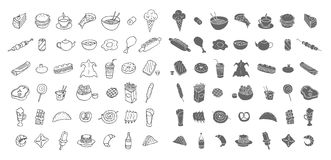 Reeks pictogrammen over voedsel en drank Royalty-vrije Stock Fotografie