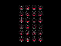 Reeks pictogrammen: Rode & zilveren stijl Stock Foto's