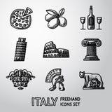 Reeks pictogrammen uit de vrije hand van Italië - pizza, olijven, wijn royalty-vrije illustratie